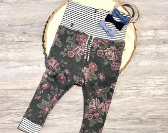 Vintage Floral and Stripes - Cuffed Pants