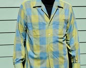 1960s Mens Plaid Dress Shirt - Henrys of Wichita - Hipster Indie Long-sleeved Plaid 16 Olive Blue Plaid Loose Fit