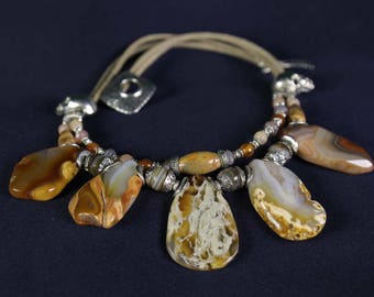 "Necklace with agate, sunstone, Carnelian and Jasper ""JoyaDreams"""