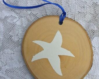 "Natural Birchwood Nautical Starfish Hanging Ornament - 3-4"" - Made in USA"