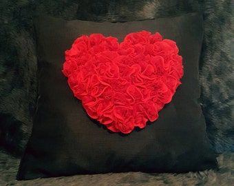 Designer, 3D Luxury Mother's Day Handmade Love Red Heart-Shaped Roses Decorative Cushion Cover