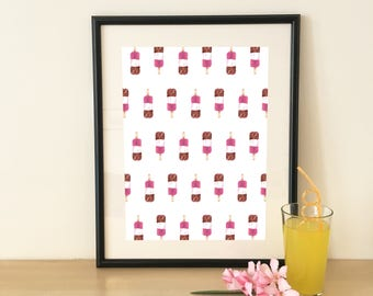 Fab Poster Download, Fab, Printable Art, Self Print, Wall Decor, Abstract Ice Lolly Art