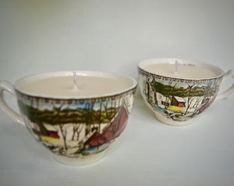 Pair of Vintage Teacup Soy-Coconut Wax Candles; Double-Layered Color & Scent: Vanilla, Hazelnut, Cinnamon; 'Friendly Village' China