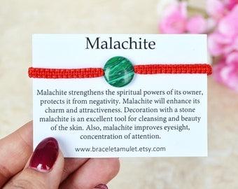 Malachite Bracelet Unisex bracelet Green bracelet Red string bracelet Protection bracelet Сharm bracelet for kids Malachite jewelry