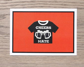 CHEERS MATE card in Electric Red