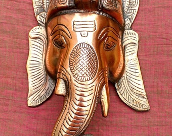 Large 14 inch Metal Copper Plated GANESH GANESHA Wall Hanging Pooja Hindu Temple