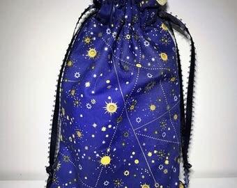 Celestial Tarot Bag   Stars and Moon   Draw String Pouch   Tarot Bag   Tarot Card Holder   Tarot Pouch