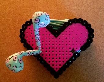 Heart Perler Bead Cord Organizer/Earbud Holder
