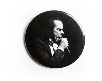 Black and White Nick Cave and The Bad Seeds live concert photography 2 1/4 inch photo pin back button