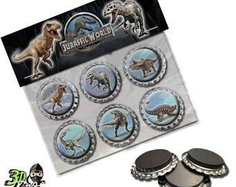 Jurassic World Magnets   Bottle Cap Magnets   Party Favors   Gift