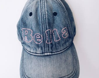 BELLA embroidered denim baseball hat