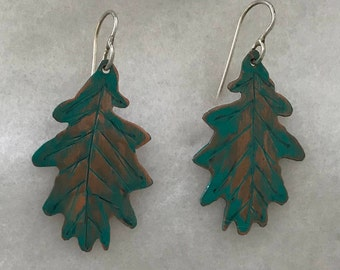 Copper Leaf Earrings with Patina