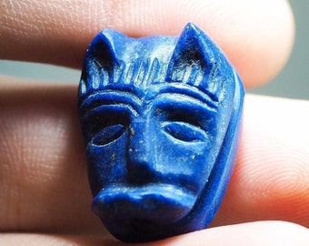 Collectible Old GOLD Fleck Antique Lapis Egyptian Goddess Cat Face BASTE Bead Pendant