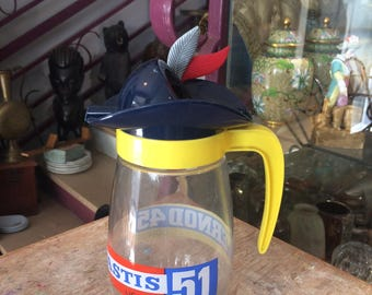 """Old pitcher advertising PERNOD 45 PASTIS 51 with spout """"feathered"""""""