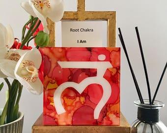 "DvonG #12: Original Handmade Alcohol Ink Painting ""I Am"" Root Chakra"