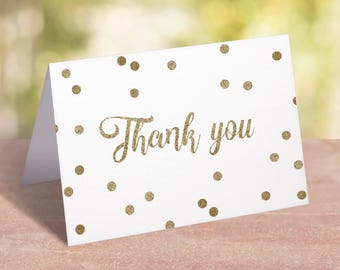 Thank You Cards Gold Confetti Greeting Cards Thank You Card Printable Template Bridal Shower Thank You Notes Gold Thank You Notecards GCO