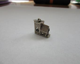 vintage sterling silver charm opening church wedding bride & groom 2.5 g