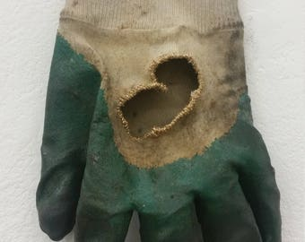 Hand embroidered gardening glove