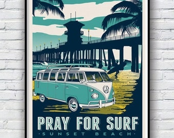 Pray for surf Poster, Pray for surf Poster Print, Vintage, Illustration, retro travel poster