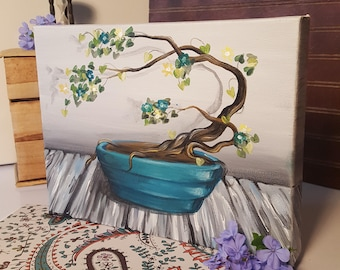 9x12 Original Bonsai Tree Acrylic Painting