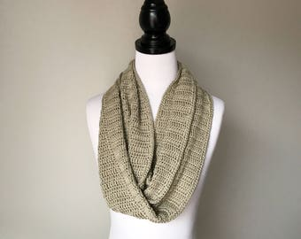 Ready to ship - Handmade Crochet Pima Cotton Infinity Scarf