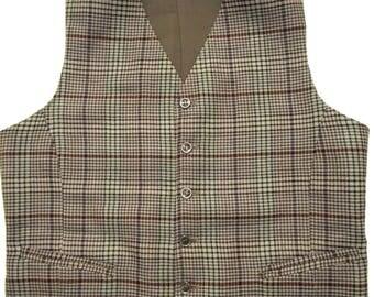 Vintage WOOL PLAID Vest sz 38 waistcoat WEDDING