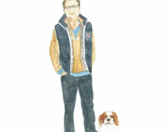 Custom made portrait of person and dog