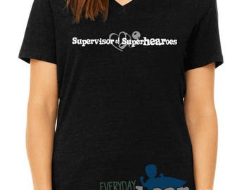 Supervisor of Superhearoes shirt cochlear implant or hearing aid parent avt audiologist gift supehero