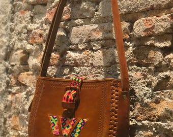 Mexico Leather Crossbody Purse With Embroidery Detail