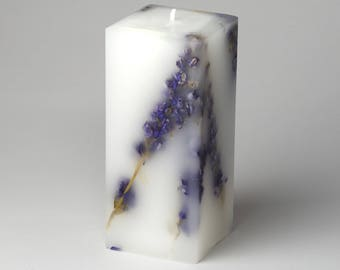 Botanical Candle - Fine Candle - Scented Candle - Pillar Candle - Purple Flowers - Housewarming Gift  - Natural Flowers - La Reine NYC