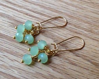 Light Green Crystal Glass Earrings