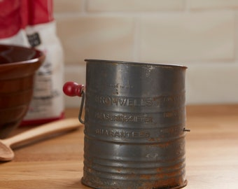 Vintage Bromwells rustic flour sifter, baking, kitchen decor,