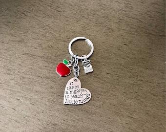 "Teacher gift keychain ""it takes a big heart to teach little minds"""