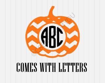 Pumpkin Monogram Svg, Halloween  Svg, svg, dxf, eps, png, Pdf - Download - Cut File, Clipart - Cricut Explorer - Silhouette Cameo