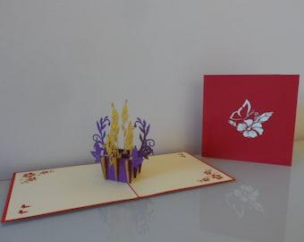 Box of Purple & Yellow Flowers Pop up Card