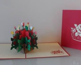 Basket of Roses Pop up Card