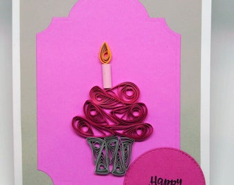 Quilled cupcake birthday greeting card with envelope
