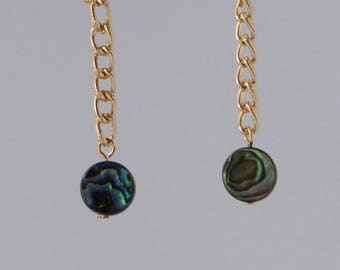 Santorini - Gold Chain Dangle Abalone - Invisible Clip On Earrings (Complimentary Shipping)