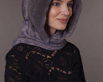 Natural handmade mink fur hood / shawl / scarf