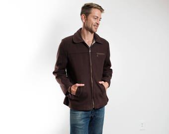 Vintage Brown Jacket / Medium Mens Zipper Jacket Made by Le Modes Ellabee