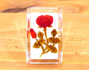 Reverse carved lucite brooch - red roses
