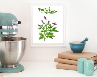 Basil art- Herbs printable - Herbs kitchen wall décor - Herbs kitchen art - herbs instant download - Herb print set - Kitchen art modern
