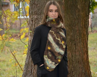 Brown wool shawl  women wool shawl felt women accessory wool accessory merino wool scarf felt unique shawl winter fashion beauty gift