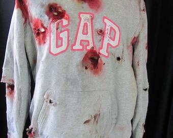 zombie sweatshirt (xl), zombie costume, apocalypse, blood, horror, slasher, halloween, corpse, living dead, walking dead, undead, goth,