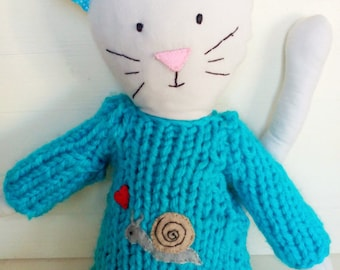 Handmade Cat - handmade doll - cloth doll - ragdoll - heirloom doll - plushie - gift for kids - knitting - jumper - hand embroidery - Cat