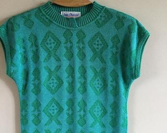 Vintage 80s  Woman  Vest Green Sleeveless Knit Top Size M