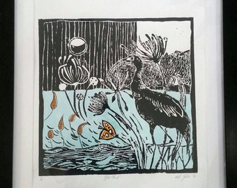 Limited edition Lino-cuts professional framed and matted