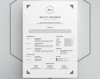 Bailey Resume/CV Template | Word | Photoshop | InDesign | Professional Resume Design | Cover Letter | Instant Download