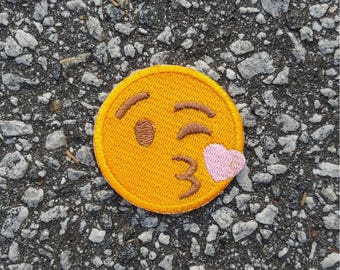 Blowing Kisses Face Emoji Embroidered Sew On Iron On Patch DIY Emojis