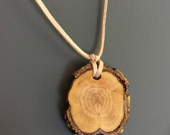 Oak and Suede Necklace
